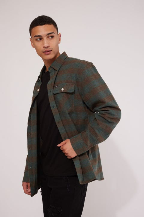 Brixton Bowery LS Flannel Shirt Ocean