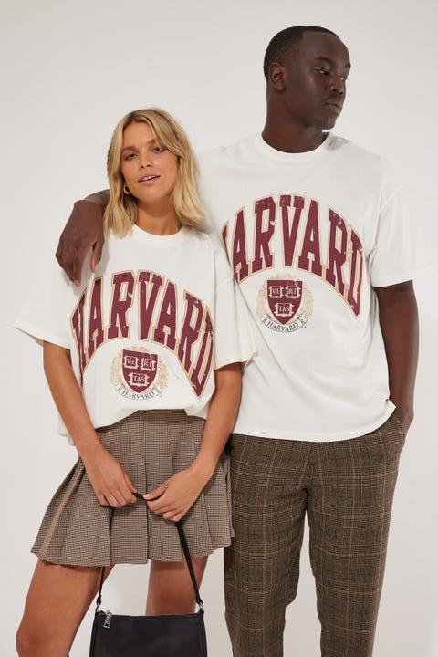 Ncaa Harvard Vint High Arch Logo Tee Vintage White