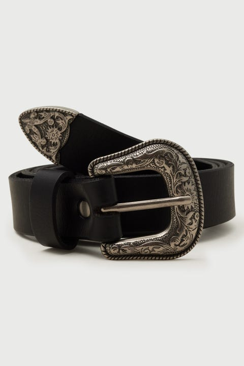 Common Need Western Belt Black/Silver