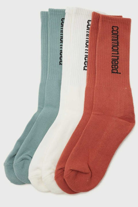 Common Need Wingman Sock 3 Pack Off White/Rust/Teal