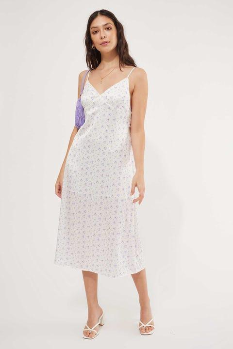 Luck & Trouble Iris Satin Midi Dress White Floral
