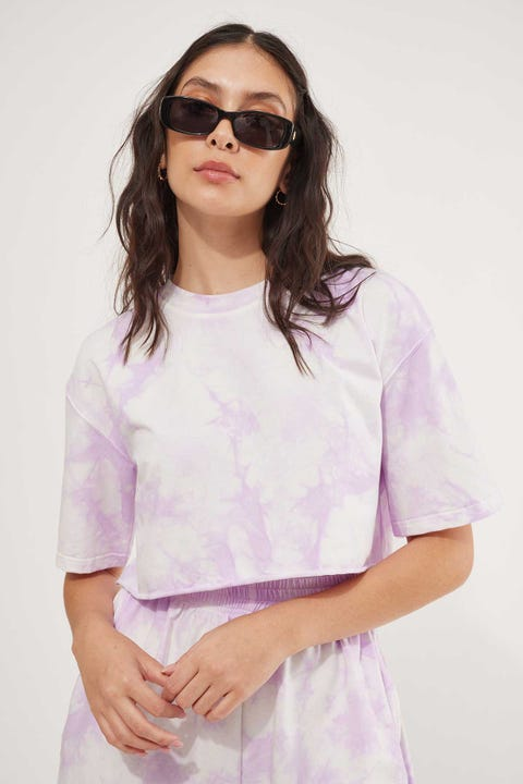 Luck & Trouble Tie Dye Crop T-Shirt Purple Print