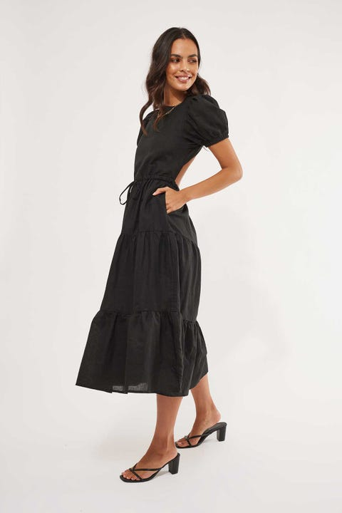 Perfect Stranger Escape Backless Midi Dress Black