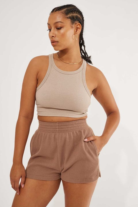 Luck & Trouble Sporty Waffle Short Brown