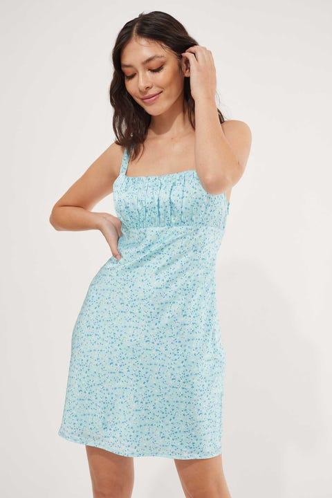 Perfect Stranger Sorrento Floral Mini Dress Blue Print