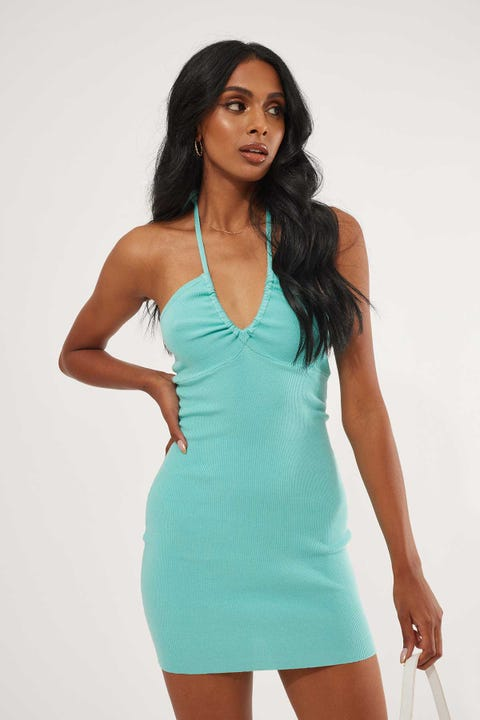 Luck & Trouble Knit Halter Mini Dress Sea Mist