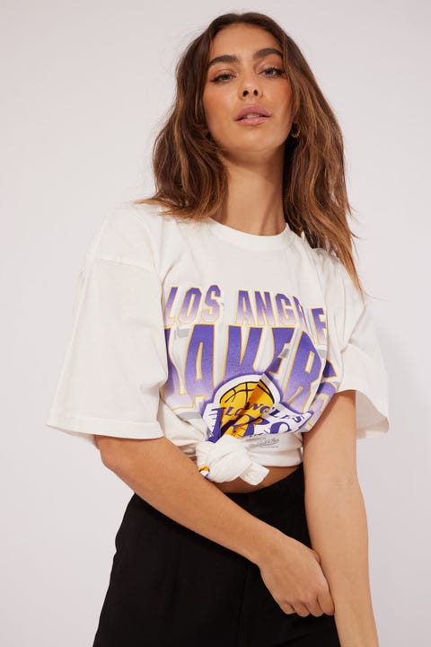 Mitchell & Ness Lakers Vint 90s Block Blur Tee Vintage White