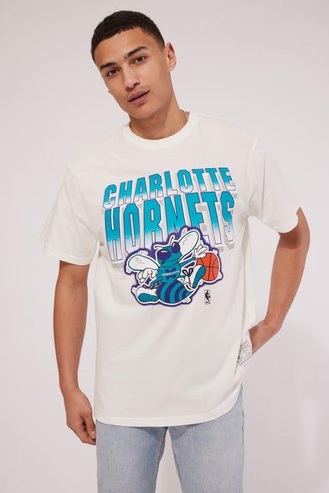 Mitchell & Ness Hornets Vint 90s Block Blur Tee Vintage White