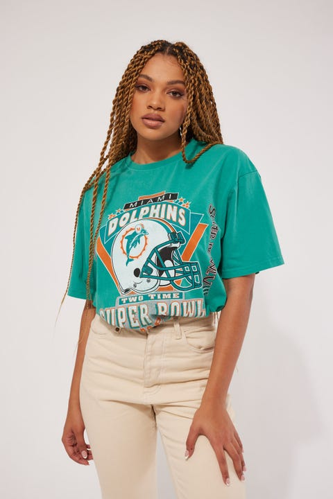 Mitchell & Ness Vintage Dolphins Superbowl Tee Faded Teal