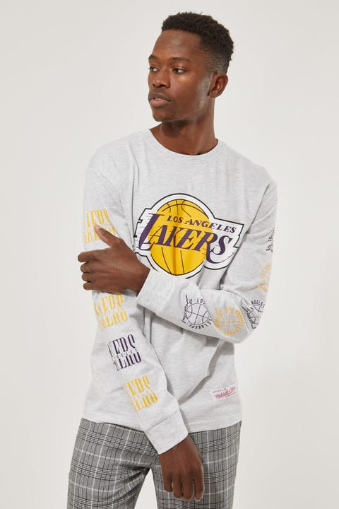 Mitchell & Ness Lakers Split Logo Repeat LS Tee White Marle