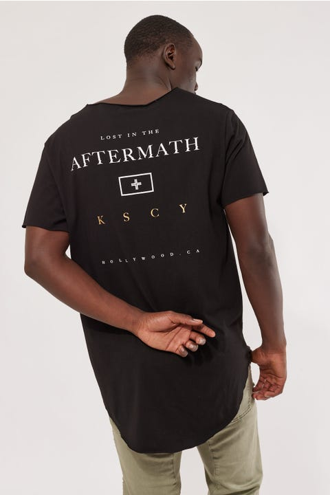 Kiss Chacey Aftermath Raw V Neck Tee Jet Black