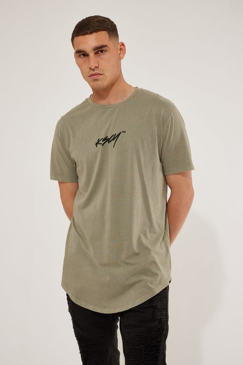 Kiss Chacey Bad Habits Dual Curved Tee Pigment Khaki