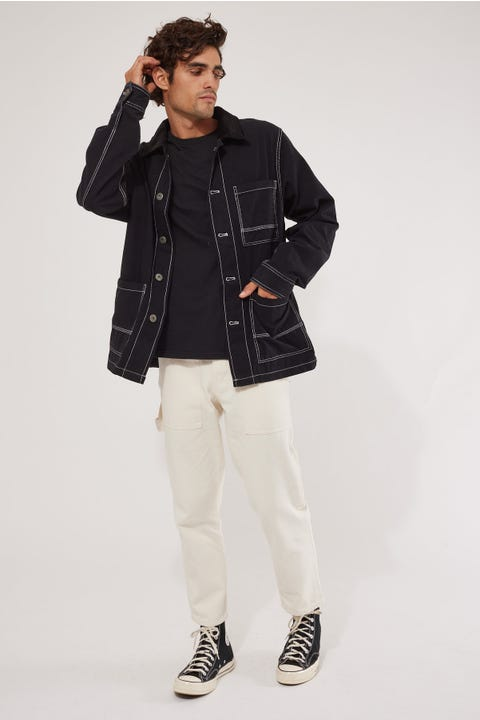 Common Need Boxy Fit Chore Jacket Black
