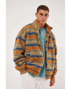 Common Need Grizzly Sherpa Jacket Mustard Aztec
