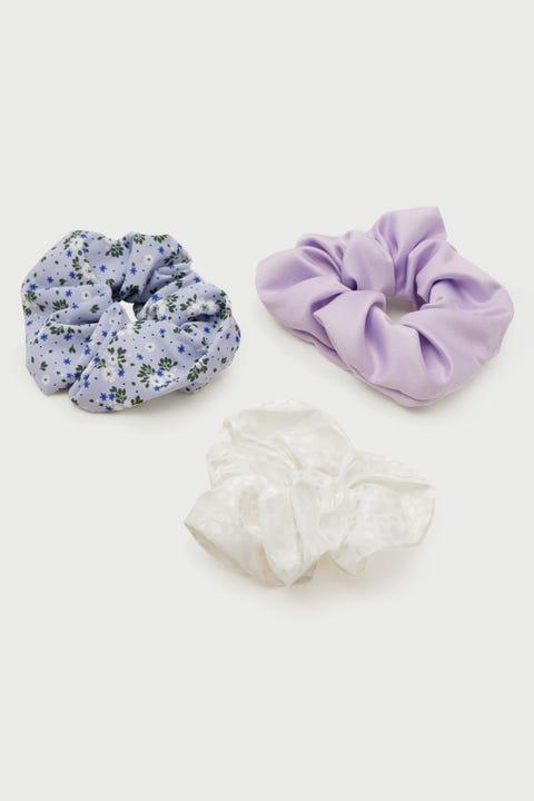 Perfect Stranger Scrunchie 3 Pack Blue/Lilac/White