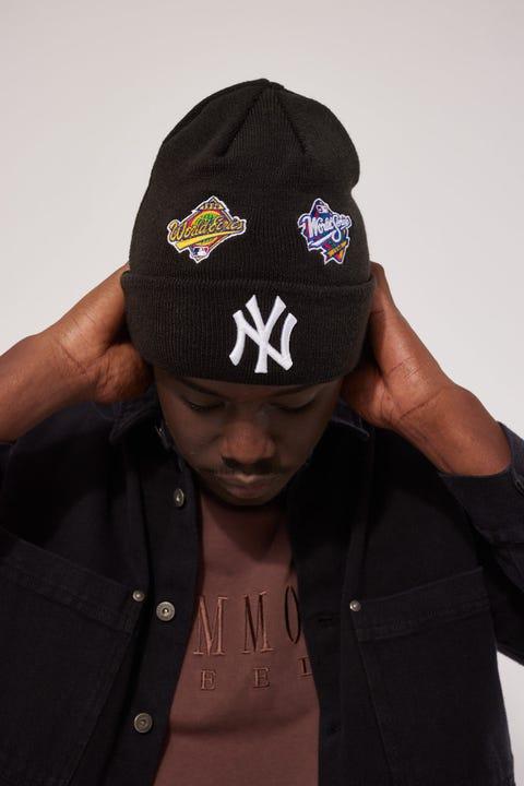New Era 6Dart Knit All Over Champs NY Yankees Beanie Black