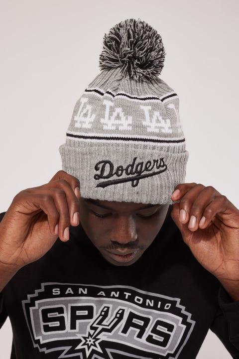 New Era 6Dart Pom Knit LA Dodgers Beanie Grey Marle