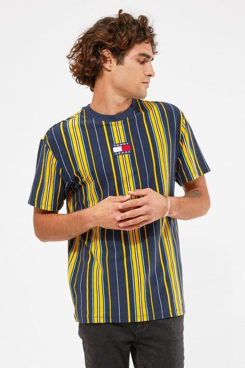 Tommy Jeans TJM Centre Badge Stripe Tee Twilight Multi / Navy Stripe