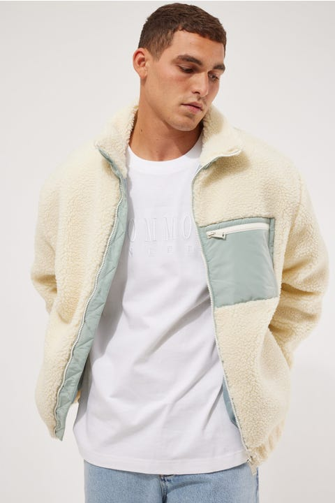Common Need Tech Panel Sherpa Jacket Cream