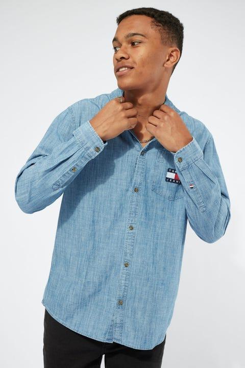 Tommy Jeans TJM Chambray Badge Shirt Mid Indigo/True Blue