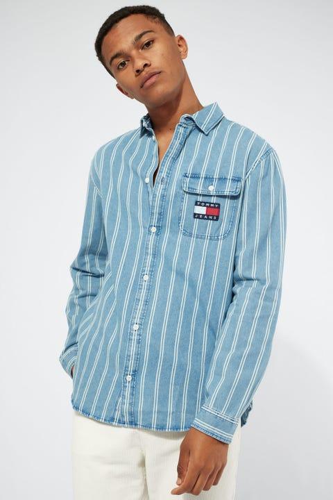 Tommy Jeans TJM Denim Stripe Shirt Mid Indigo/White Stripe