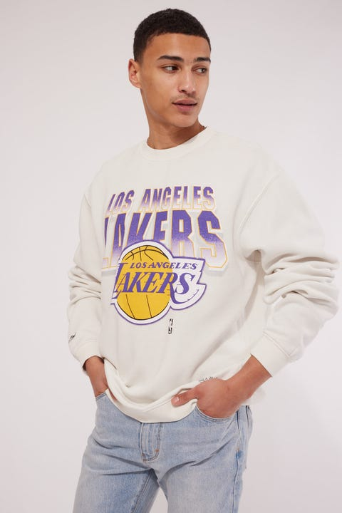Mitchell & Ness LA Lakers Vintage 90's Block Blur Crew Vintage White