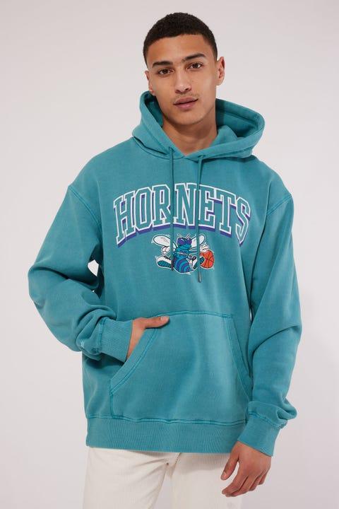 Mitchell & Ness Charlotte Hornets Vintage Keyline Logo Hoody Faded Aqua
