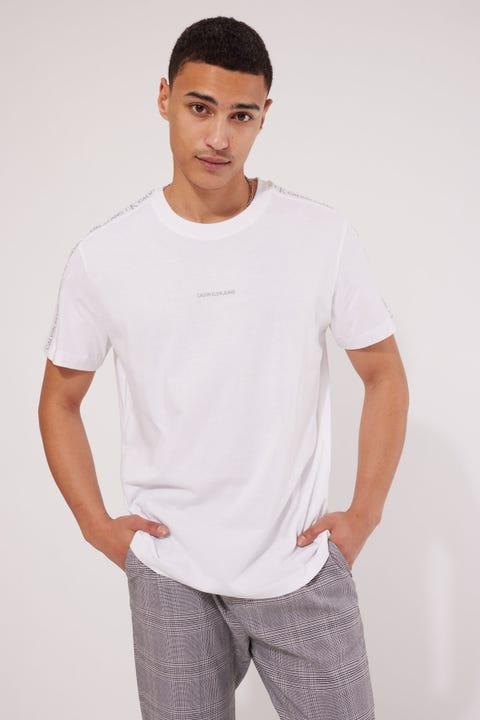 Calvin Klein Logo Jacqaurd Shoulder Tee Bright White
