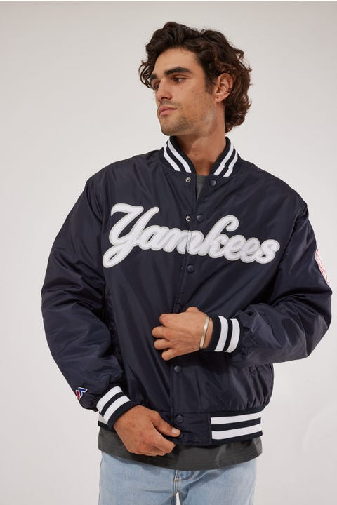 Majestic Athletic Traditonal Wordmark Bomber Jacket True Navy
