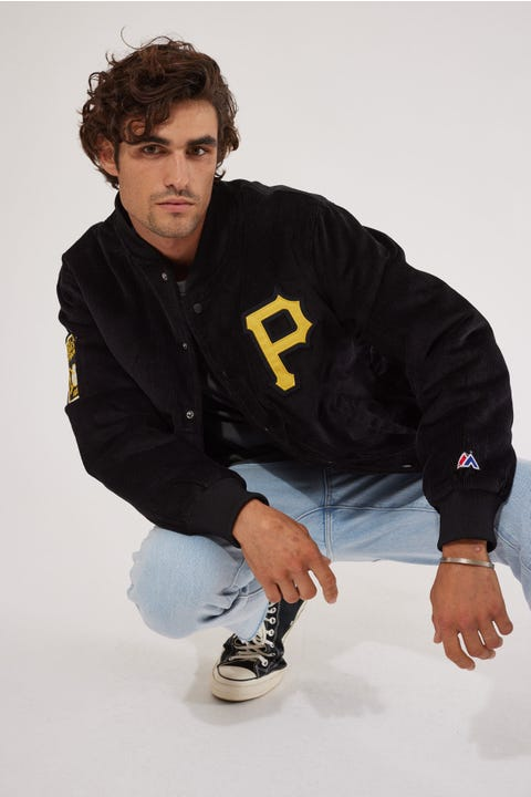 Majestic Athletic Pittsburgh Pirates Cord Bomber Jacket Pittsburgh Pirates Black