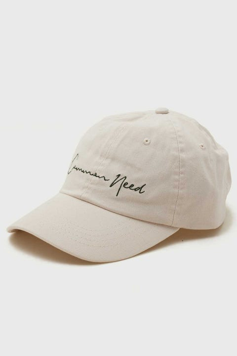 Common Need Script Dad Cap Off White/Green