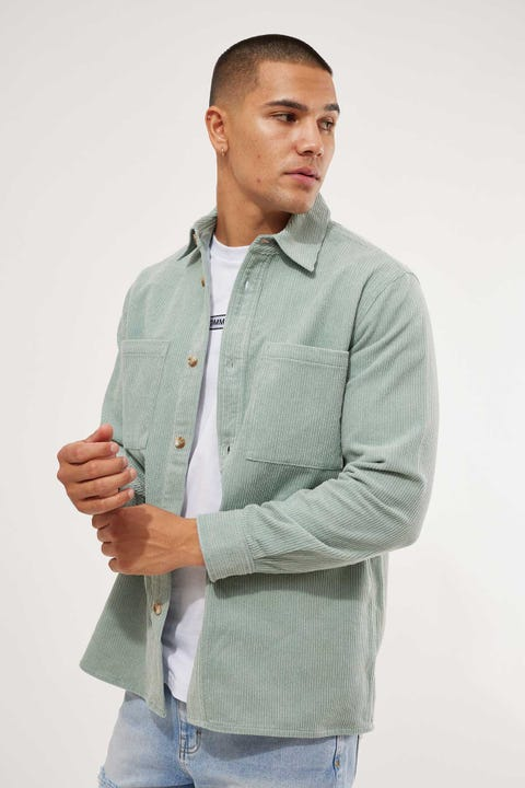 Common Need Bowie Cord Overshirt Jade Green