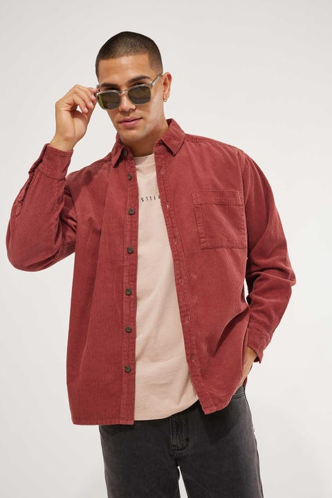 Common Need Kirk Cord Overshirt Washed Red