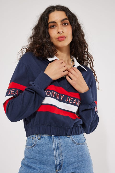 Tommy Jeans Tommy Crop Rugby Polo Twilight Navy/Multi