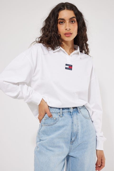 Tommy Jeans Badge Longsleeve Polo White