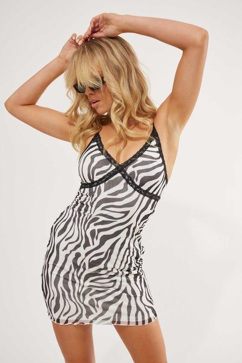 Luck & Trouble Contrast Lace Mini Dress Zebra