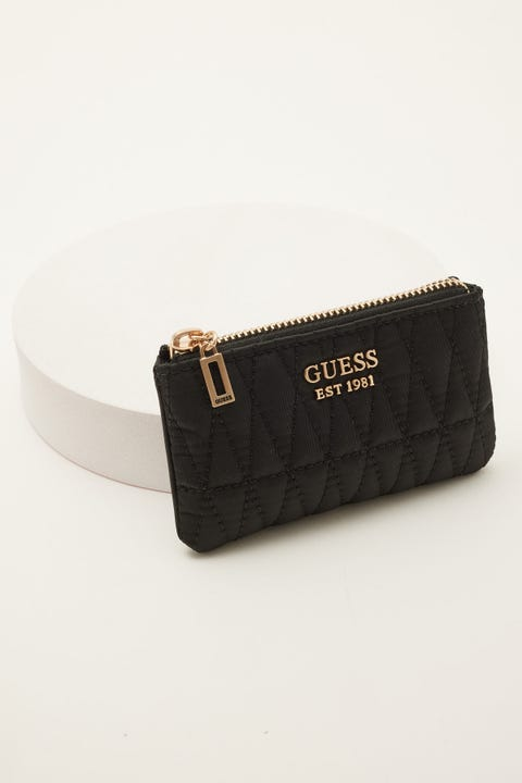 Guess Originals Layla Zip Pouch Black Quilted Nylon