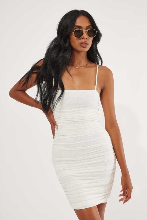 Luck & Trouble Rouched Mesh Mini Dress Cream