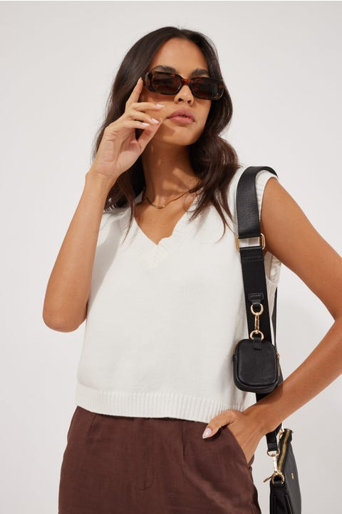 Luck & Trouble Cropped Knit Vest Off White