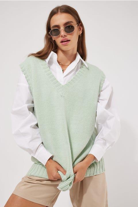 Perfect Stranger Oversized Knit Vest Pistachio