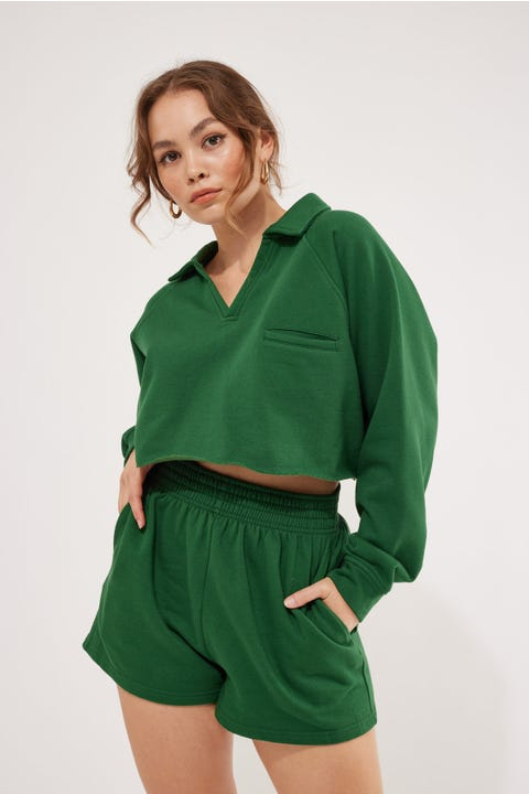 Luck & Trouble Cropped Collared Sweater Forest Green