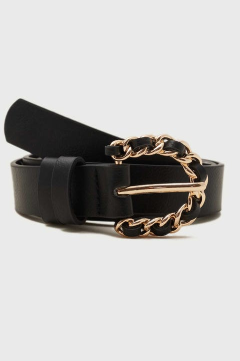 Token Chain Buckle Belt Black/Gold