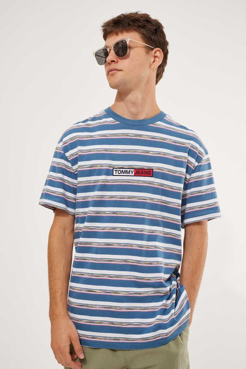 Tommy Jeans TJM Seasonal Stripe Logo Tee Audacious Blue/White