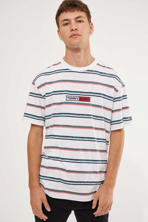 Tommy Jeans TJM Seasonal Stripe Logo Tee White/Multi