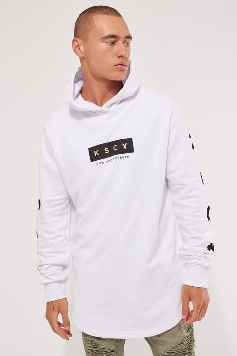Kiss Chacey Glory Hooded Dual Curved Sweater White