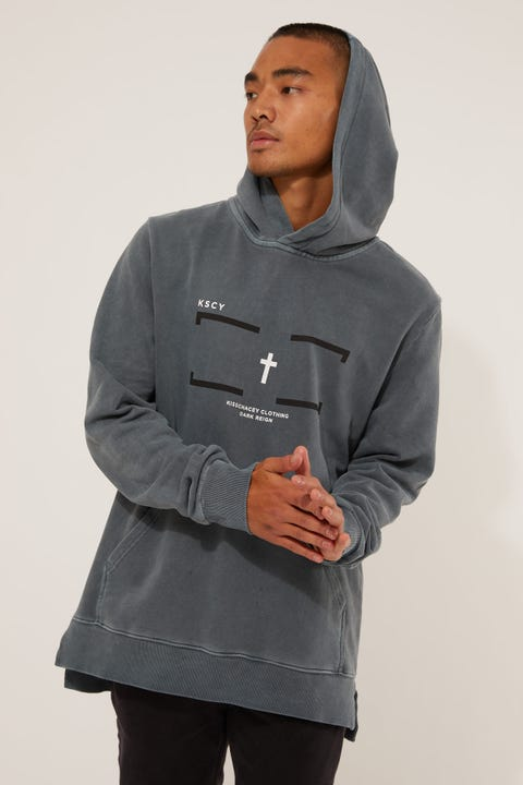 Kiss Chacey Downpour Step Hem Hooded Sweater Pigment Slate