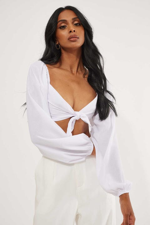 Luck & Trouble Ava Tie Front Top White