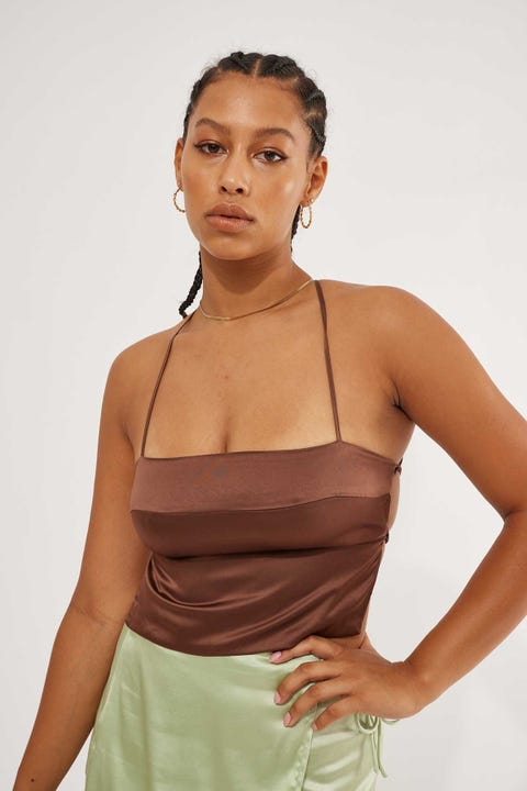 Perfect Stranger Tie Back Top Chocolate