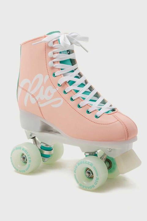 Rio Roller Script Roller Skates Peach and Green