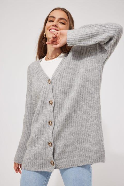 Perfect Stranger Oversized Cardigan Grey Marle